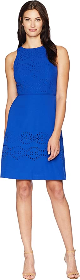 Lasercut Fit-and-Flare Dress