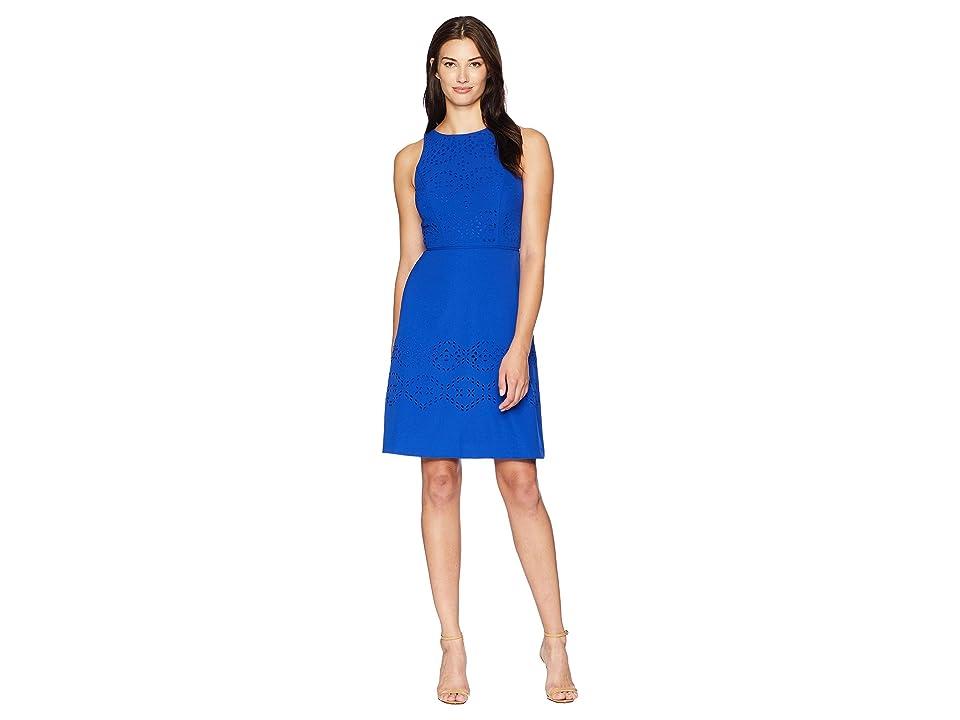 Tahari by ASL Lasercut Fit-and-Flare Dress (Cobalt) Women