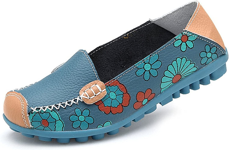 Velardeeee Sandals Women Bright color Casual Flower Printed Slip On Leather Flat Pumps shoes