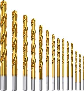 Meterk 14 Piezas Helicoidales Juego de Brocas Taladro de