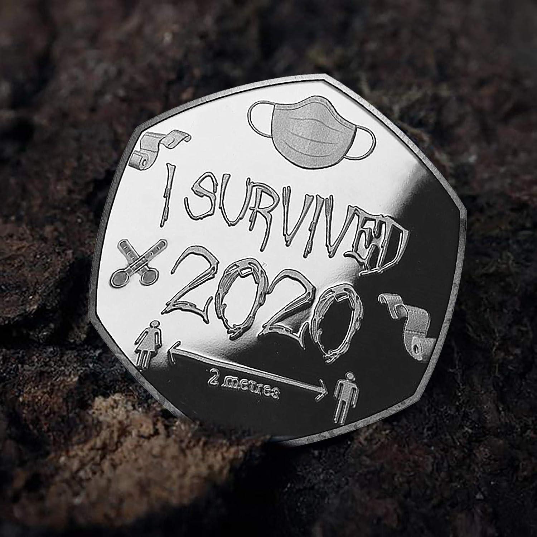 I Survived 2020 Souvenirs du pass/é Souvenir sp/écial Cadeau JoJody Pi/èce de Monnaie comm/émorative Argent