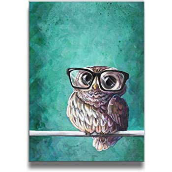 Martoo Art Owl with Glasses Animal Canvas Wall Art Digital Painting Prints with Frame Ready To Hang Modern Picture for Kid's Room Home Wall Decoration Framed Pictures for Babys Children Rooms Bedroom