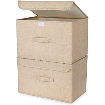DIMJ 収納ボックス 収納ケース ふた付き 折り畳み 防塵 大容量 綿麻 衣類 おもちゃん 書類 2点セット (ベージュ)