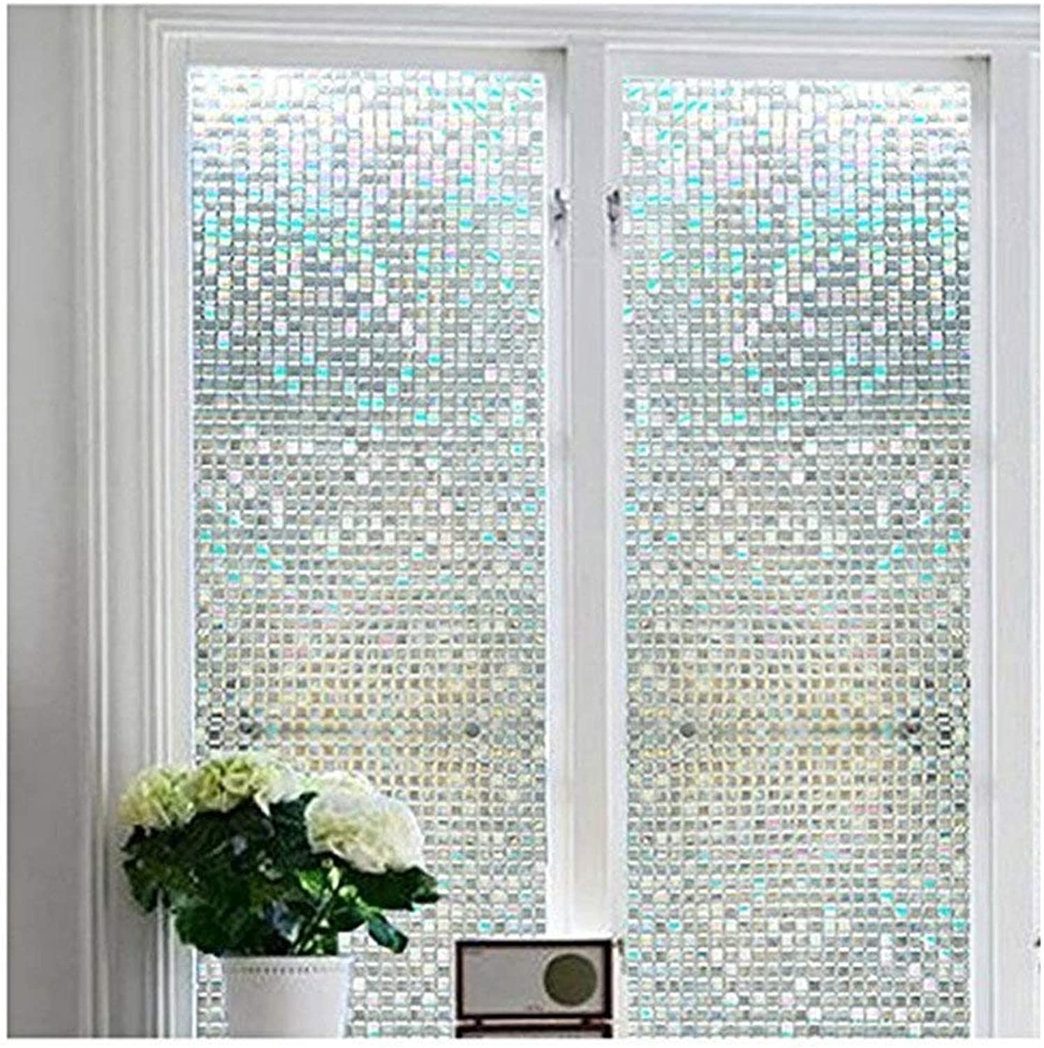 color Your World Vinyl 3D Mosaic Window Film Adhesive Free Privacy Window Covering Home Bedroom Bathroom Entched Frosted Static Cling Reflective Window Glass Film, 17.7 x 78.7 Inches(45CM by 200CM)