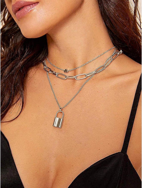 BVROSKI Lock Key Pendants Chains Necklace Set for Eboy Egirl Men Male Emo Goth Women Teen Girls Boys Jewelry Pack for Pants Punk Play