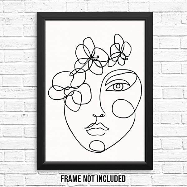 Modern Abstract Black White Wall Decor Art Print Poster Woman S Face Portrait With Flowers UNFRAMED Minimalist One Line Artwork For Living Room Bedroom Bathroom Home Office 11 X14
