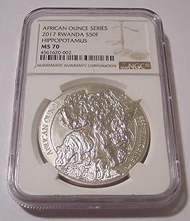 2017 RW Rwanda 1 Ounce Silver Hippopotamus 50 Francs MS70 NGC