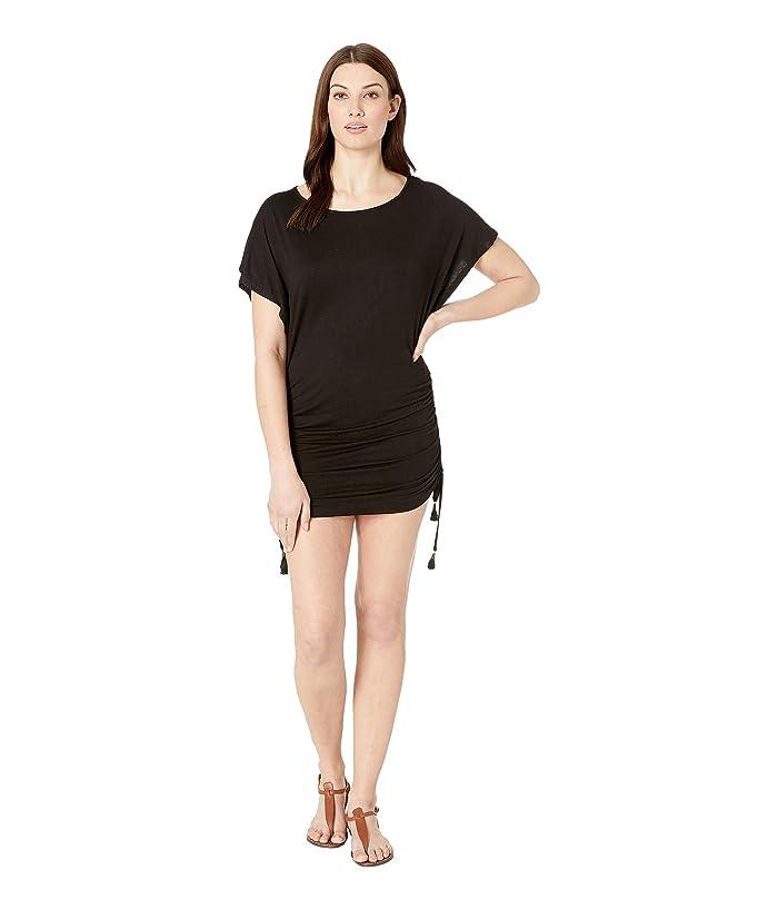 c0d86d24fe Lucky Brand Baja California Shirred Side Tunic Cover-Up (Black) Women