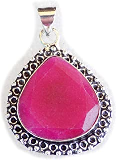 Ruby Pink Beryl Pendant, Silver Plated Brass Pendant, Handmade Pendant, Gift Jewelry, Women Jewellry, Fashion Jewellry, BR...