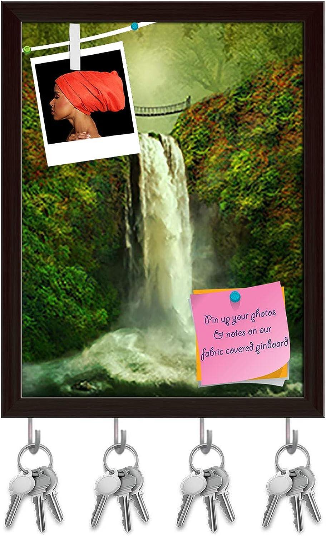 Artzfolio Tropical Landscape Key Holder Hooks   Notice Pin Board   Dark Brown Frame 6 X 7.6Inch