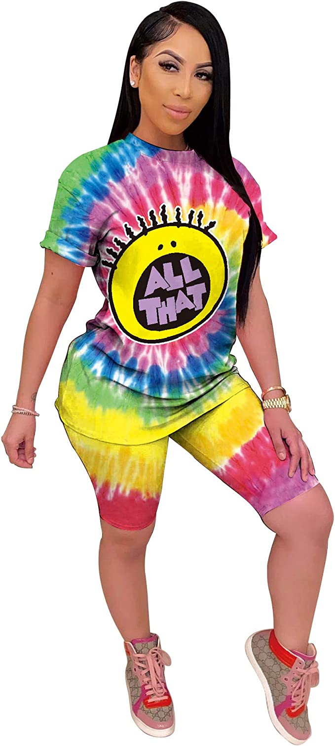 90s Clothing Outfits You Can Buy Now Fastkoala Womens 2 Pieces Outfits Clubwear Colorful Tie Dye Hooded Crop Top Shorts Joggers Tracksuit Sportswear Set  AT vintagedancer.com