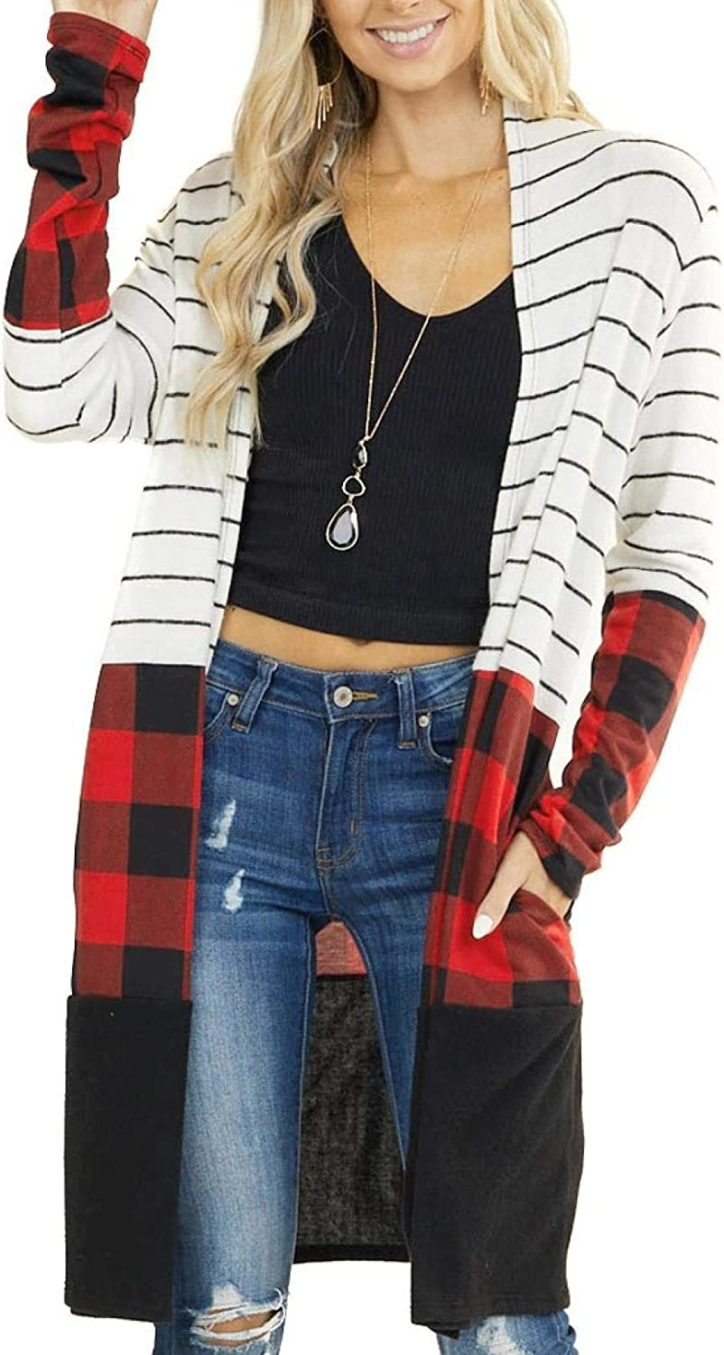 Women's Lightweight Leopard Plaid Striped Cardigans NEW before selling Patchwork Sw NEW before selling