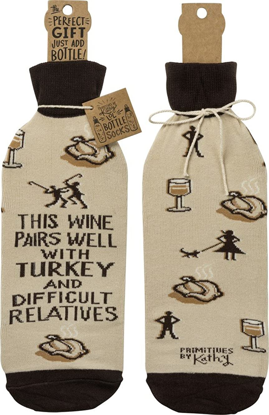 Primitives by Kathy Bottle Sock - Wine Pairs Well With Turkey
