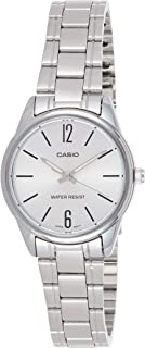 Casio Women's Quartz Watch, Analog Display and Stainless Steel Strap Ltp-V005D-7Budf, Silver Band