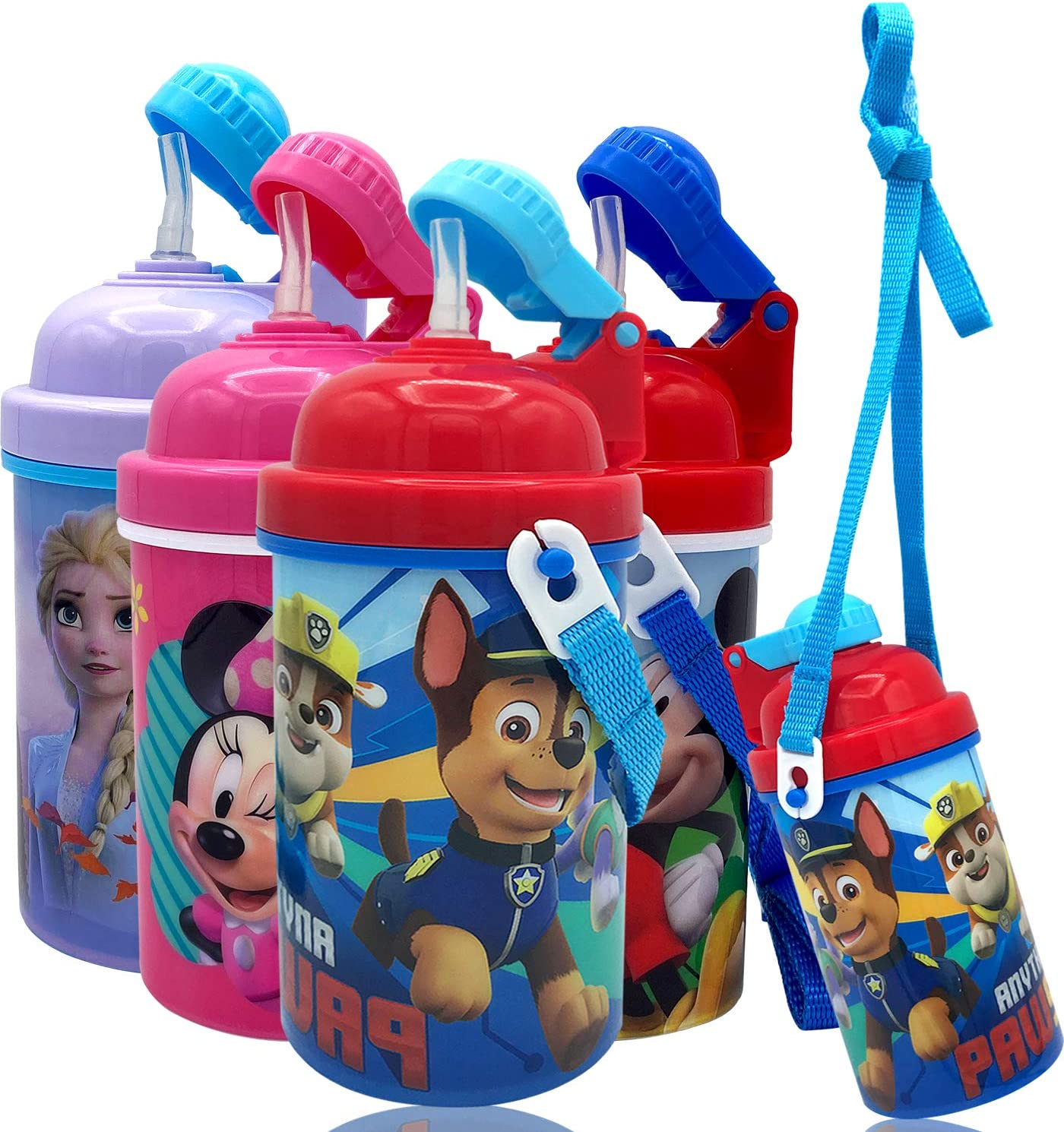 Disney Paw Patrol Carrying Strap One Touch Water Bottles with Reusable Built in Straw - Safe Approved BPA free, Easy to Clean, Perfect Gifts for Kids Girls Boys, Goodies Home Travel