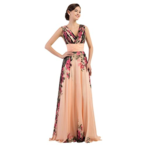76c84bd9089 GRACE KARIN Floral Print Graceful Chiffon Prom Dress for Women  (Multi-Colored)