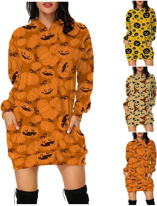 Qunkii Women's Long Sleeve Hoodie Mini Dress Halloween Print Sexy Funny Pullover Tunic Pumpkin Casual Dress with Pocket