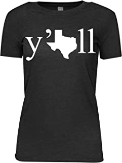 Texas Y'all Womens T-Shirt Charcoal Heather Cotton Polyester Blend