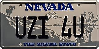 Celebrity Machines Tremors   Uzi 4U   Metal Stamped License Plate