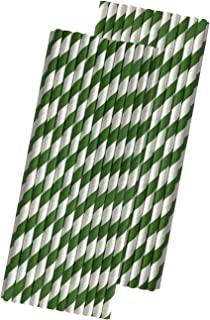 Striped Paper Straws - Green White - 7.75 Inches - 50 Pack