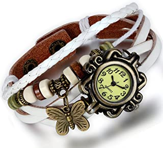 Women's Braided Leather Straps Butterfly Charm Bracelet Bangle Watches Quartz Business Casual Wrist Watch Friendship Gift for Halloween Custome Party (5 Colors)