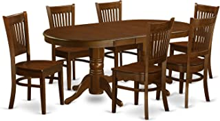 VANC7-ESP-W 7 Pc Dining room set Table with Leaf and 6 Kitchen Dining Chairs