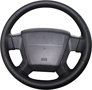 XUJI Black Genuine Leather Car Steering Wheel Cover for Jeep Compass 2006 2007 2008 2009 2010 / Old Patriot 2007 2008 2009 2010