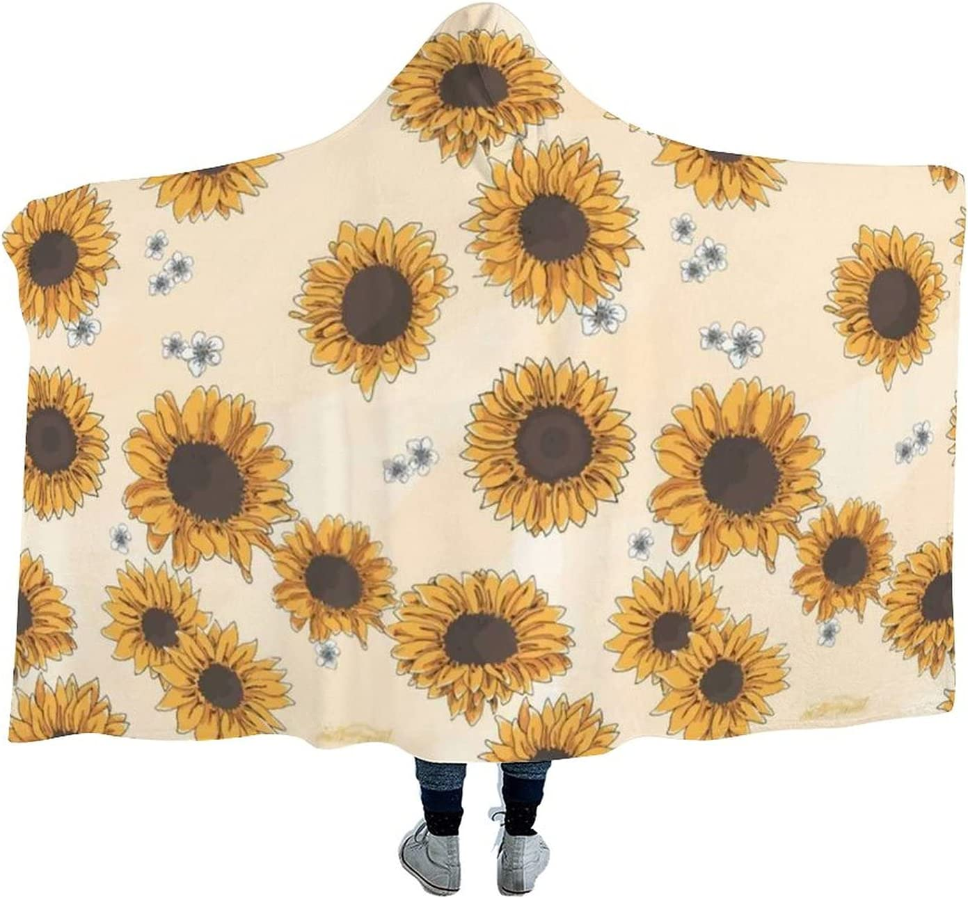 Sunflower Pattern Wearable Max 42% OFF Hooded Blanket Watch T Cloak Soft lowest price for