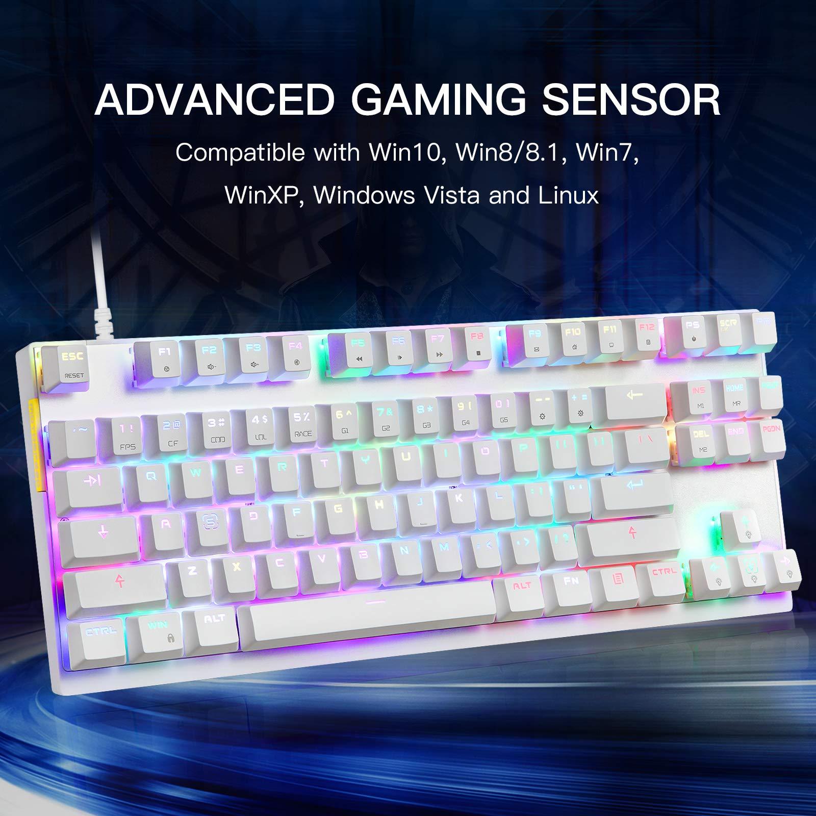 MOTOSPEED Professional Gaming Mechanical Keyboard RGB Rainbow Backlit Compact 87 Keys Wired Gaming Keyboard for Windows Gaming PC