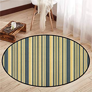 Living Room Round Mat,Geometric,Barcode Style Pattern in Retro Colors Straight Parallel Vertical Lines,Children Bedroom Rugs,4'11