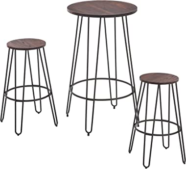 NOBPEINT 3 Piece Bar Table Set 2 Stools Bistro Pub Kitchen Dining Furniture, Rustic Brown