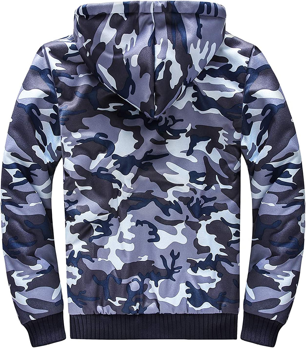 Uaneo Mens Fleece Lined Camouflage Winter Long Sleeve Zip Up Hooded Jackets(Blue-S)