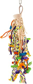 Birds LOVE Swing Climb Leather Rope Wood Bird Toy for Bird Cage for African Grays Cockatoos Mini Macaws Amazons and Medium Sized Birds