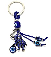 Bravo Team Lucky Elephant and Blue Evil Eye Keychain Ring, Handbag Charm for Protection and Blessing, Great Gift