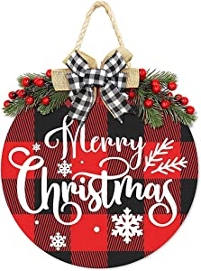 Merry Christmas Decorations Wreath, Merry Christmas Buffalo Plaid Hanging Sign Rustic Wooden Holiday Decor for Front Door Porch Home Window Wall Farmhouse Indoor Outdoor Decorations (Merry Christmas)