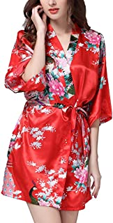 Women's Satin Robes Short Silky Bridal Robe Floral Bathrobe Peacock Kimono Robe for Wedding Party