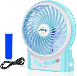 efluky 3 Speeds Mini Desk Fan, Rechargeable Battery Operated Fan with LED Light and..