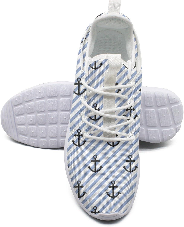 ERSER Nautical Navy Anchor Stripe Wide Running shoes for Women