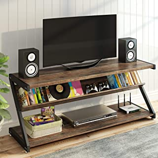 LITTLE TREE TV Stand, Entertainment Center with Shelves for 60 Inches TVs, Large 3-Tier Media Stand with Metal Frame, Industrial Rustic TV Console Table for Living Room