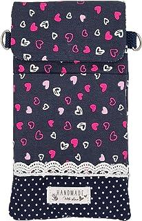 Goldline Smartphone- und Handy Tasche, Umhängetasche, Crossbag, Patchwork blau Herzen