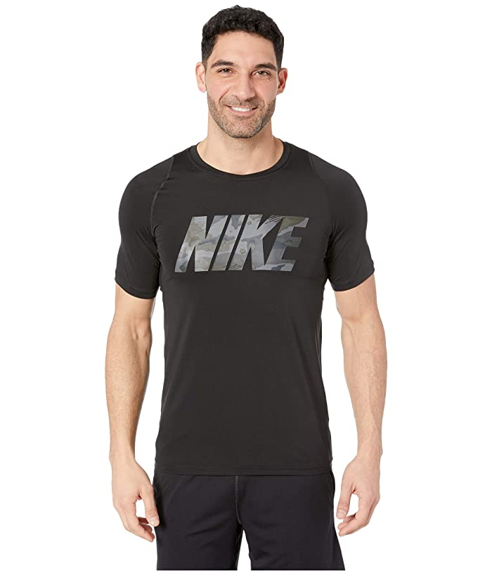 Nike Pro Top Short Sleeve Fitted 2 Layer Camo (Black) Men