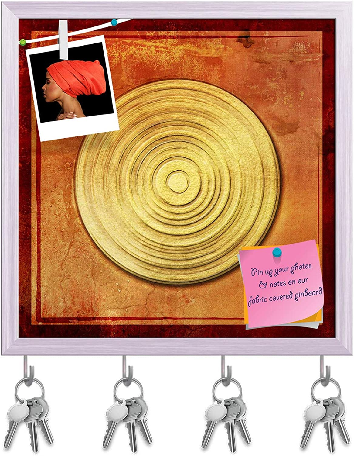 Artzfolio Abstract Asian golden Background D2 Key Holder Hooks   Notice Pin Board   White Frame 16 X 16.1Inch