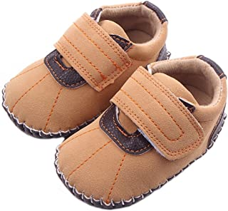 Lidiano Baby Boy Toddler Dull Polish Non Slip Rubber Sole Sneakers 0-18 Months (6-12 Months, Brown)