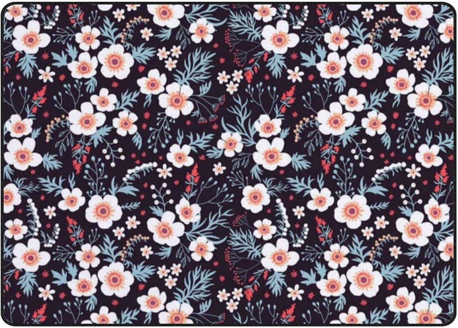 White sale Flowers Area Rug Max 59% OFF Indoor Carpets Floor Non-Slip Living Room