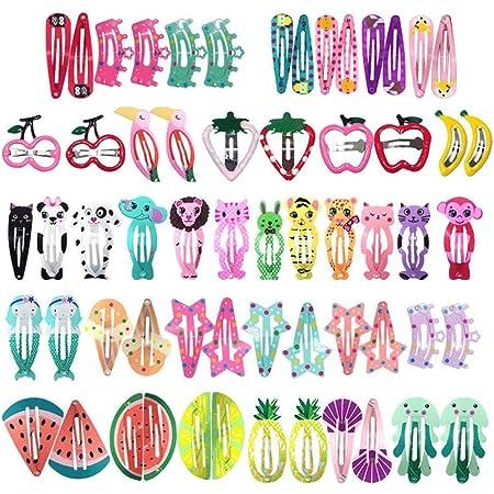 HOOMBOOM Mollette per Capelli Cartone Animato Carino, Mollette per Capelli Set da 60pcs Bambina Fermagli per Capelli Colorati Clips per Bambina Bambini