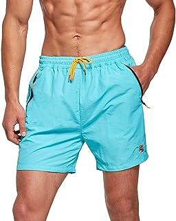 JustSun Mens Swim Shorts with Mesh Lining Quick Dry Beach Shorts Waterproof Surfing Shorts Swim Trunks