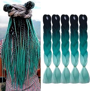 24 اینچ Ombre Jumbo Braiding Hair Extensions Ombre Braiding Hair 5 Pack Ombre Kanekalon Braiding Hair Synthetic Fiber Hair for Braiding (مشکی تا سبز تا سبز روشن)