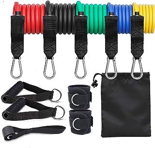 EQ8 Fitness, träningsband set – Stretch träningsband inkluderar handtag, dörrankare | Träningsband för styrka/upphängning...