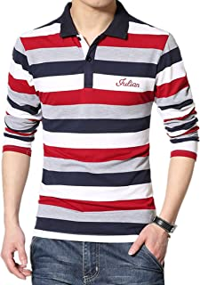 SHUIANGRAN Men's Striped T-Shirt Sport Cotton Shirts Classic Fit Casual Pullover