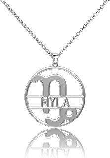 Aooaz Womens Ladies Silver Plated Charm Wedding Promise Pendant Necklace Round White Crystal CZ Taurus